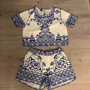 Tops - Two piece crop top and short set